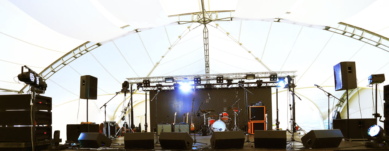 An empty Stage Before the Concert with floodlight